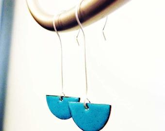 Enamel on Copper Earrings, Art Deco, Kiln-Fired Glass Enamel, Colorful Jewelry, Sterling Silver Ear Wires, Meta Earrings