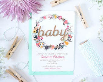 Woodland Baby Shower invitation, baby shower invite rustic baby shower invite Real wood invitation handmade invitation gender neutral shower