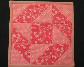 Quilted Mug Rug in Shades of Pink for School, Office, Hostess Gift or Home