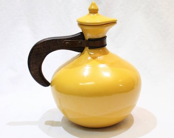 Vintage Bauer Pottery USA Plainware Yellow Carafe and Lid with Wooden Handle