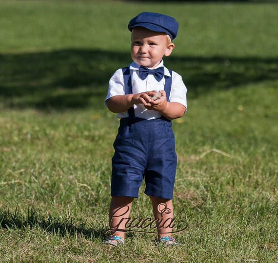 Ring bearer outfit Navy blue boy suit Newsboy outfit Baby boy