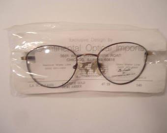 NOS La Scala 970 Antique Gold Demi Amber Eyeglass Frames 47 19 140 Lot 65
