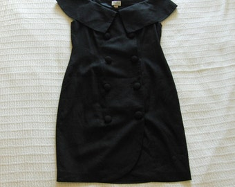 Vintage Kathryn Conover New York Off Shoulder Little Black Dress sz. 12 Late 80's early 90's Button-Up