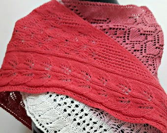 Forest Fantasy Lambswool and Cotton Lace Knit Shawl - Hand Knit from My Original Design