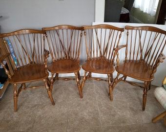 Ethan allen windsor bow back nutmeg chair set 4