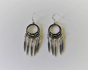 Dream catcher earrings in silver