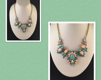 Green and Pink Flower statement necklace