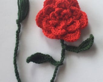 Crocheted flower bookmark
