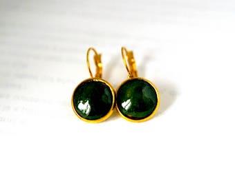 Dark green earring, autumn color, for winter, simple, light earrings, artisanal, for gift