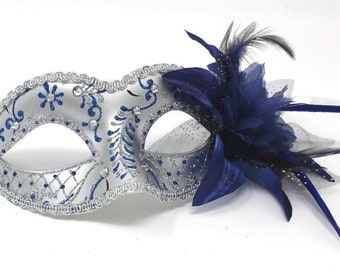 Blue and Silver Masquerade Mask with Flower