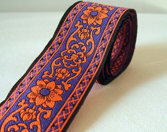 "plum purple and sunset orange floral trim 1.5"" wide 2 yards"
