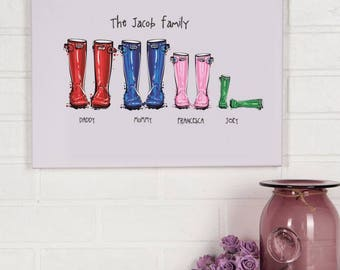 Personalised family wellyboot canvas