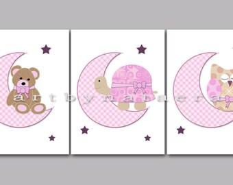 Baby Gift Kids Wall Art Baby Girl Nursery Room Decor Kids Room Decor Nursery Print Kids Art set of 3 Bear Turtle Owl Decor Pink Rose