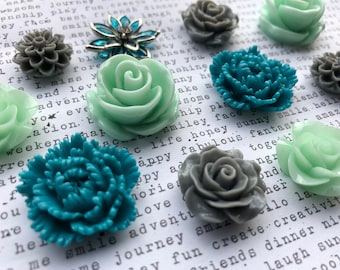 Magnets, 12 pc Flower Magnets, Mint Green, Teal, and Gray Kitchen Decor, Housewarming Gifts, Wedding Favors