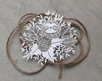 Hand-cut Sloth Paper-cut, Paper-cut Sloth Original Artwork, Original Sloth Paper-cut, Hand-cut Paper Flowers