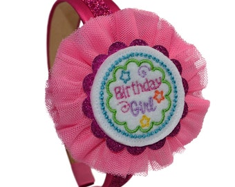 Birthday Girl Satin Arch Headband with Tulle Flower for Toddlers and Little Girls
