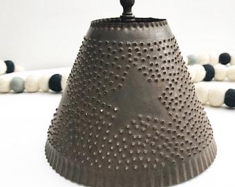 Vintage Punched Tin Lamp Shade