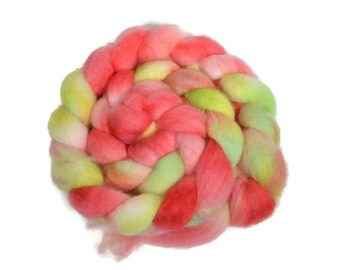 BFL 4 oz hand dyed roving, Combed Top, Blue Faced Leicester spinning fiber, pink, green, bfl roving, bfl spinning fiber - One of a Kind