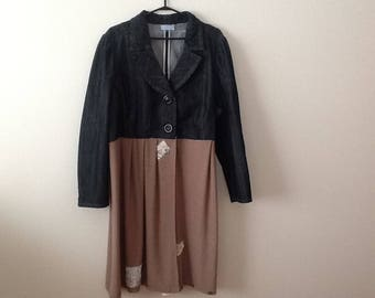 Upcycled Denim Jacket Refashioned Artsy Boho Refashioned Shabby Style Romantic Rustic Outerwear. Women's Plus Size 1x 2x.