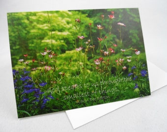 WOODED SCENE Classic Folded Notecard with Envelope - Floral Photography with Inspirational Message, Blank Inside