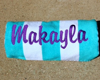 Personalized Beach Towel - Teal & White