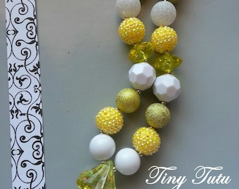 YELLOW Bling Chunky Necklace- Chunky bubblegum necklace, Girls chunky necklace, Gumball necklace, Chunky beaded necklace