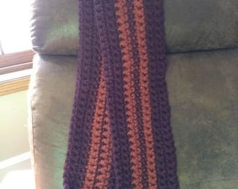 Long Burgundy and Orange Scarf