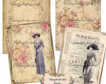 Digital Paper, Shabby Digital Paper, Printable Shabby Scrapbook, Vintage Digital Paper Fashion Ladies, Digital Shabby Rose Paper. No. 672