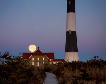 Moon Setting over Fire Island Lighthouse