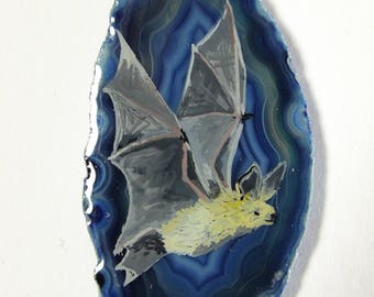 Flying Bat Hand Painted Agate Pendant
