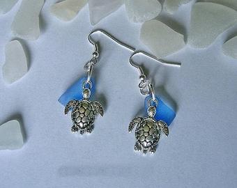 Sea glass earrings. Sea turtle earrings. Beach glass jewelry.
