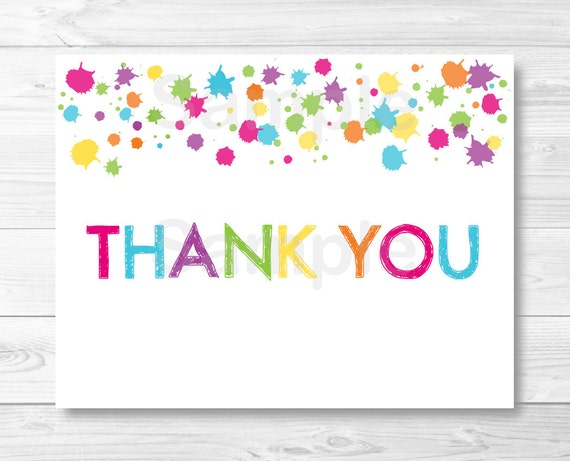 Rainbow Art Party Thank You Card Template / Art Birthday Party