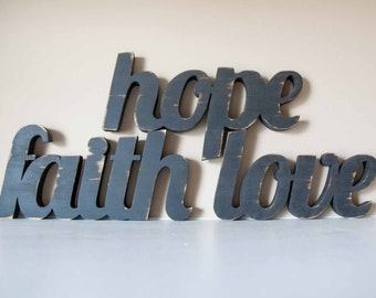 Faith, Hope, Love wooden word sign, 1 Corinthians 13, Home Decor
