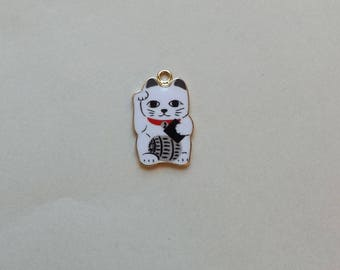 Lucky Cat Charm - Maneki Neko - Beckoning Cat, Lucky Cat - Raised Paw with Barrel