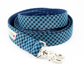 Blue Navy Gingham Dog Leash