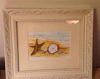 "Original Framed Watercolor Seashell Scene 8"" x 10"""