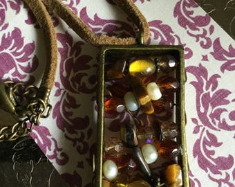 Vintage Leather Beads and Metal Pendant Necklace