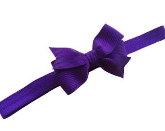 Dark purple baby headband - baby headbands, baby headband bows, baby girl headbands, newborn headbands, bow headband, baby bows, hair bows