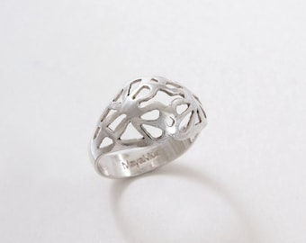 Rings for women sterling silver Rings for women boho rings sterling silver floral band ring Silver Flower ring Silver bohemian rings