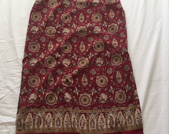 Red paisley mid-length skirt