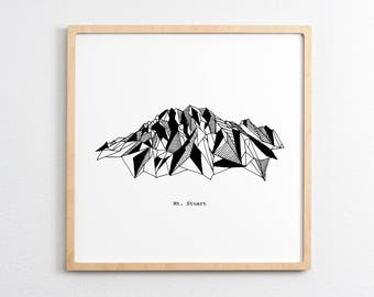 Mt. Stuart Washington Polygonal Drawing Art Print