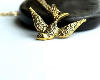 Bird Necklace charm sparrow swallow Small Gold plated brass in Flight on a gold plated chain