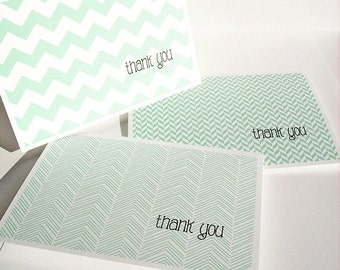 Modern Thank You Cards - Mint Thank You Notes, Chevron Stripes Herringbone Geometric Stationery Set Bright Aqua Mint Thank You Card Set