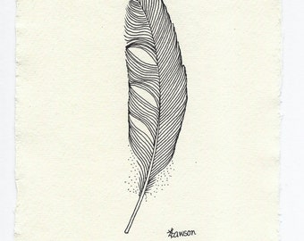 Line Drawing Feather : Small black feather original ink drawing