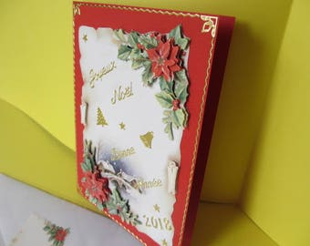 Card (embossed) 3D poinsettia stickers gold Merry Christmas & happy new year