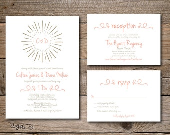 Printable Starburst Wedding Invitation and RSVP and OPTIONAL Details Card Suite-Print Yourself-Digital Invite File