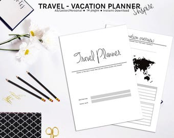 Printable Travel Planner, Vacation Planner, Travel Journal, Vacation Organizer, Holiday Planner, Trip Planner, Printable Planner