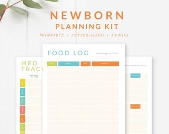Newborn Planning Kit, Baby Planner, Baby Shower Gift, Infant Tracker Log, Printables - INSTANT DOWNLOAD