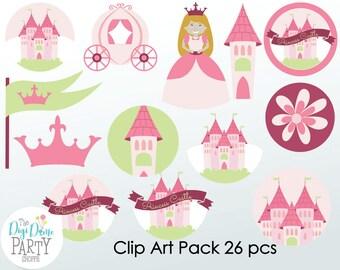 Princess Castle Digital Scrapbooking Clip Art, Buy 2 Get 1 FREE. Instant Download