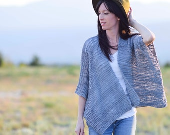 Kimono Knitting Pattern, Easy Knit Cardigan Pattern, Summer Knitting Pattern, Easy Knit Sweater Pattern, Light, Drop Stitch